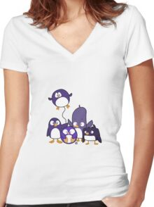 Penguin Parade Women's Fitted V-Neck T-Shirt