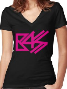 BASS (pink)  Women's Fitted V-Neck T-Shirt