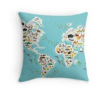 Cartoon animal world map for children Throw Pillow