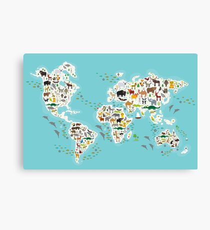 Cartoon animal world map for children Canvas Print