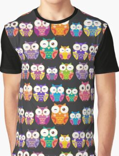 bright colorful owls on black background Graphic T-Shirt