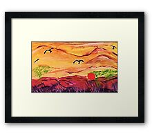 Cloudy landscape, watercolor Framed Print