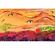 Cloudy landscape, watercolor Photographic Print