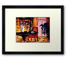Living space, watercolour Framed Print