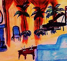 The  grand room, waterckour by Anna  Lewis, blind artist