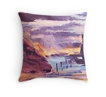 Settled as wind dies down, waterclour Throw Pillow