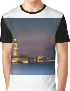 Maidens Tower under New Moon  Graphic T-Shirt