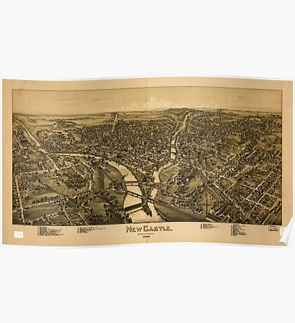 Panoramic Maps New Castle Pennsylvania 1896 Poster