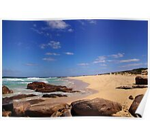 Moses Rock beach and rocks Poster