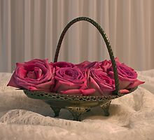 Tarnished Silver Basket Of Pink Roses by Sandra Foster