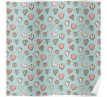 pattern with hearts. Blue, pink, brown Poster