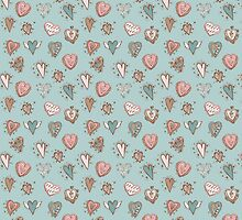 pattern with hearts. Blue, pink, brown by EkaterinaP