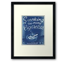 SMOKING TOO MANY CIGARETTS (vintage illustration) Framed Print