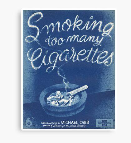 SMOKING TOO MANY CIGARETTS (vintage illustration) Canvas Print