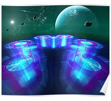 galactic landing zone at the  medri 8 space stop Poster