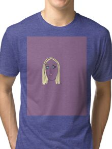Purple Girl with Yellow Hair Tri-blend T-Shirt
