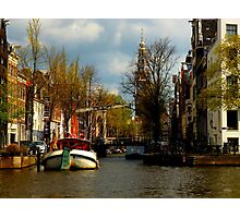 a canal in Amsterdam, Holland Photographic Print