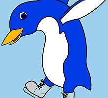 Christmas Blue Penguin with Silver Ice Skates by Grifynne