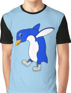 Christmas Blue Penguin with Silver Ice Skates Graphic T-Shirt