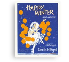 HAPPY WINTER (vintage illustartion)  Canvas Print