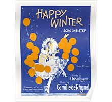 HAPPY WINTER (vintage illustartion)  Poster