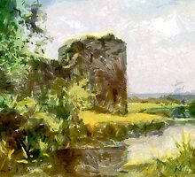 Digital Impressionist Painting of Pevensey Castle, Sussex by Dennis Melling