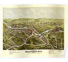 Panoramic Maps View of Westerly RI 1877 Poster