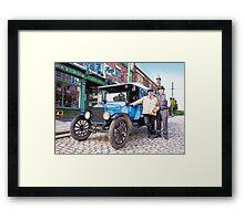 Vintage delivery van and driver Framed Print
