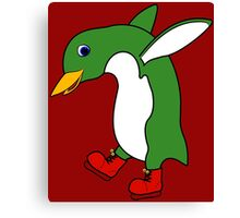 Christmas Green Penguin with Silver Ice Skates Canvas Print