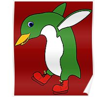 Christmas Green Penguin with Silver Ice Skates Poster
