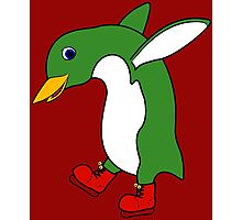 Christmas Green Penguin with Silver Ice Skates Photographic Print