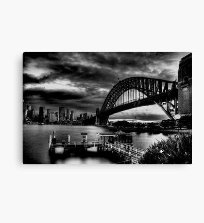 Sydney Harbour Bridge HDR B&W Canvas Print