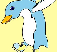 Christmas Light Blue Penguin with Yellow Ice Skates by Grifynne