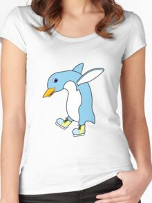 Christmas Light Blue Penguin with Yellow Ice Skates Women's Fitted Scoop T-Shirt