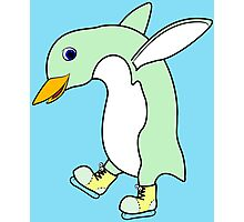 Christmas Light Green Penguin with Yellow Ice Skates Photographic Print