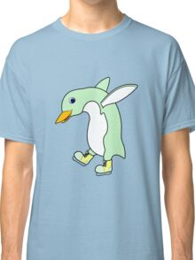 Christmas Light Green Penguin with Yellow Ice Skates Classic T-Shirt