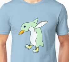 Christmas Light Green Penguin with Yellow Ice Skates Unisex T-Shirt