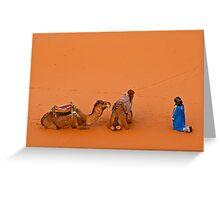 Morning pray at Erg Chebbi on edge of the Sahara Greeting Card
