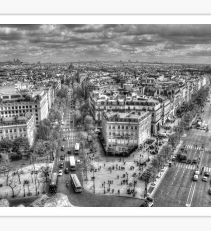 Champs-Élysées from the Arc De Triomphe in Black & White Sticker