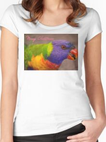 Merry Christmas, Rainbow Lorikeet  Women's Fitted Scoop T-Shirt