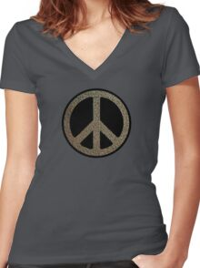 Peace,Love,Music Rusty Sign Women's Fitted V-Neck T-Shirt
