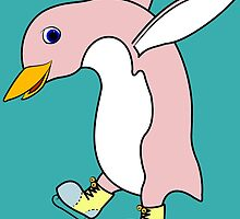Christmas Light Pink Penguin with Yellow Ice Skates by Grifynne