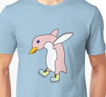 Christmas Light Pink Penguin with Yellow Ice Skates Unisex T-Shirt