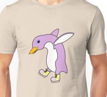 Christmas Light Purple Penguin with Yellow Ice Skates Unisex T-Shirt