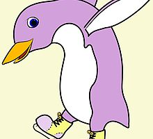 Christmas Light Purple Penguin with Yellow Ice Skates by Grifynne