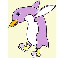Christmas Light Purple Penguin with Yellow Ice Skates Photographic Print