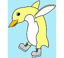 Christmas Light Yellow Penguin with Blue Ice Skates Photographic Print