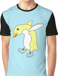 Christmas Light Yellow Penguin with Blue Ice Skates Graphic T-Shirt
