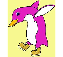 Christmas Pink Penguin with Gold Ice Skates Photographic Print