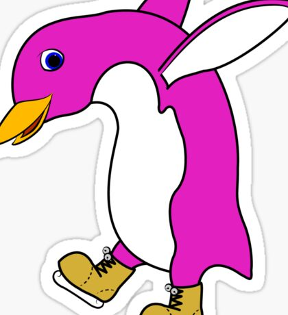 Christmas Pink Penguin with Gold Ice Skates Sticker